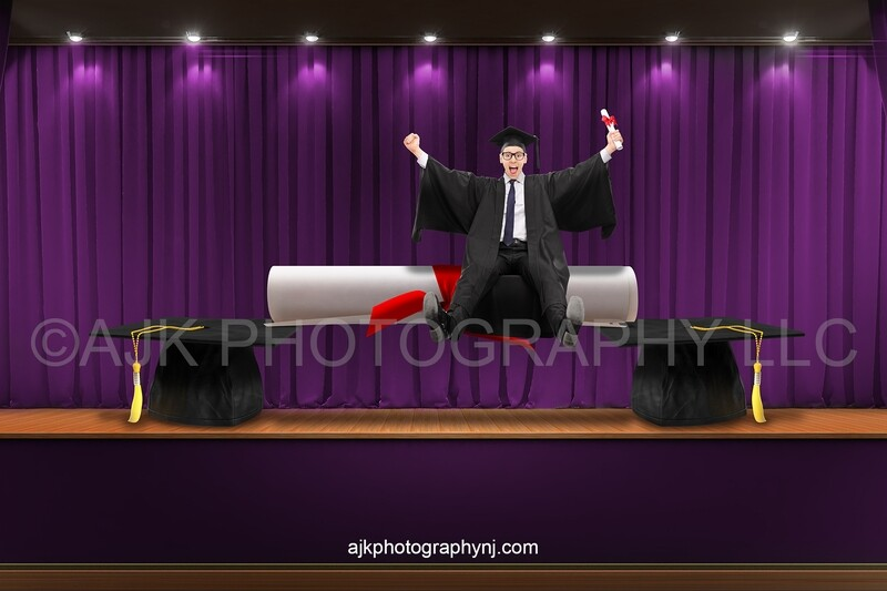 Graduation digital background, giant graduation caps and diploma, stage with purple curtains, school digital backdrop