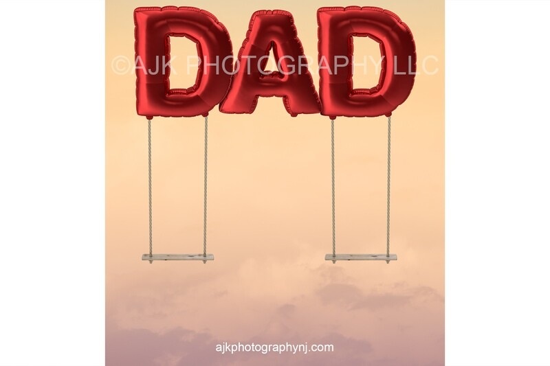 Happy Father's Day digital background, giant red balloons spelling DAD, father daughter swings, digital backdrop