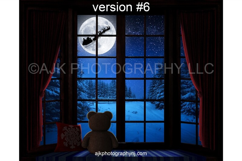 Christmas window digital background, Santa flying in sleigh across moon over woods at night, bay window, red pillow, teddy bear, digital backdrop version #6