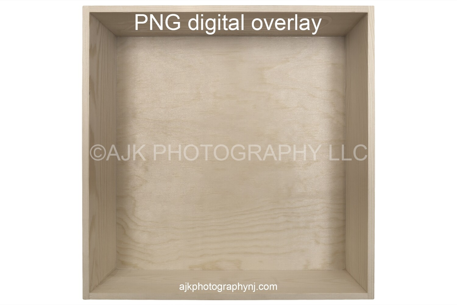 1 empty wood box template, PNG digital overlay, photography composite