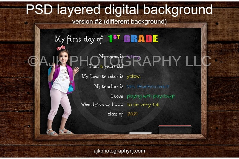 First day of First Grade Digital Backdrop, back to school, digital background, version #2