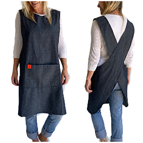 Japanese Crossover Apron Ladies Sml/Med - Denim