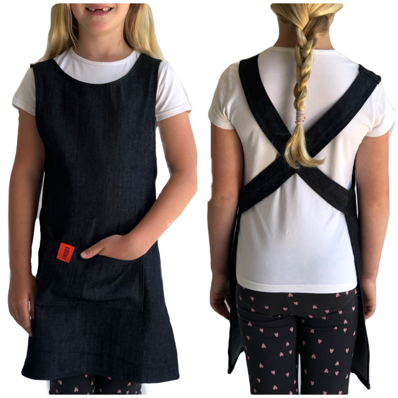 Japanese Crossover Apron Unisex Kids 4-7y - Denim