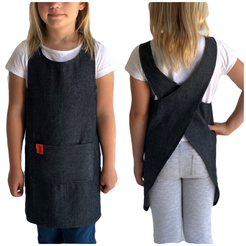Japanese Crossover Apron Girls 4-7y - Denim
