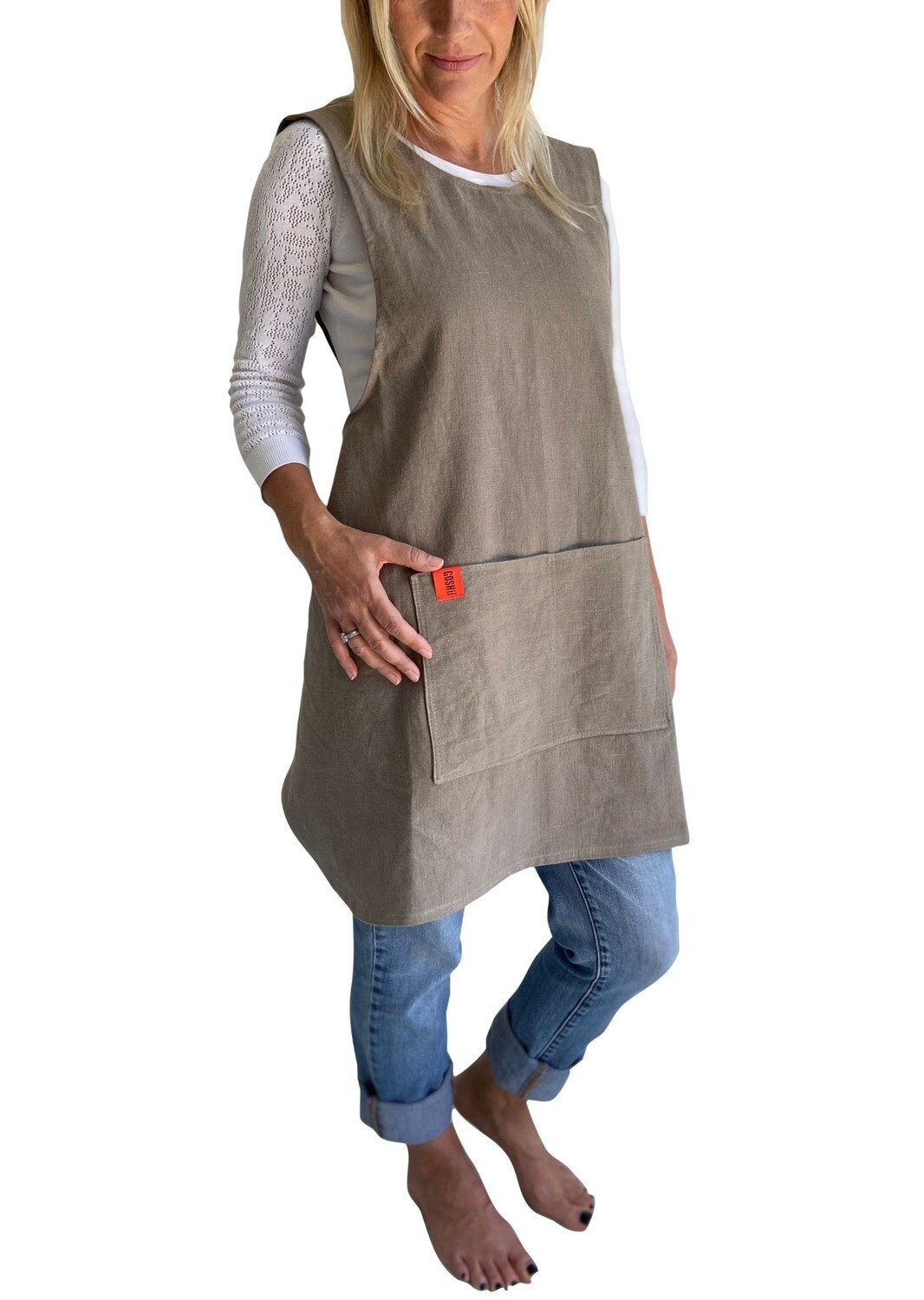 Japanese Crossover Apron Ladies Sml/Med - Linen