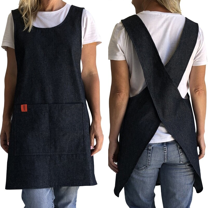 Japanese Crossover Apron Ladies Med/Lrg - Denim
