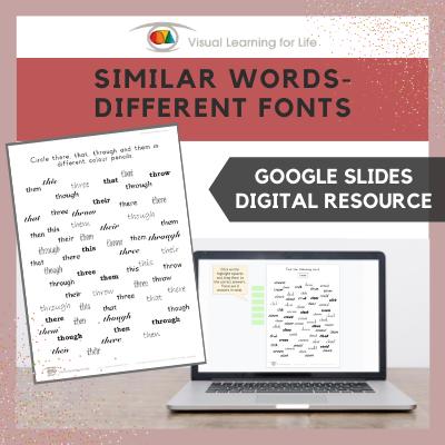 Similar Words–Different Fonts (Google Slides)