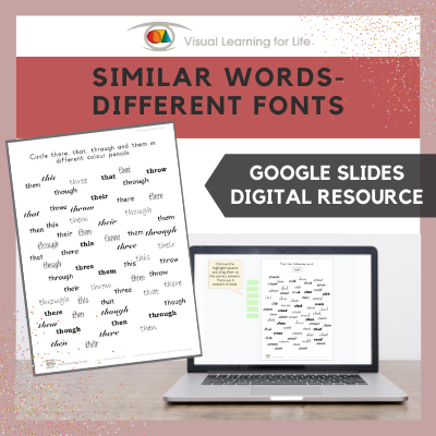 Similar Words–Different Fonts (Google Slides)
