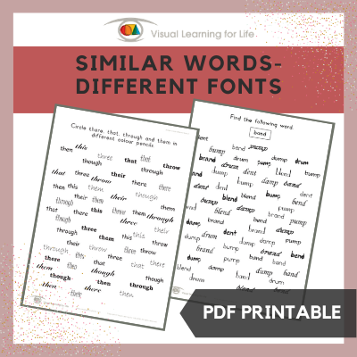 Similar Words–Different Fonts