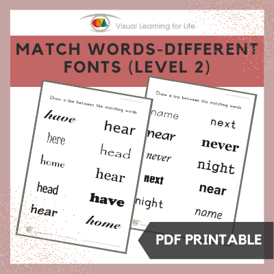 Match Words-Different Fonts (Level 2)