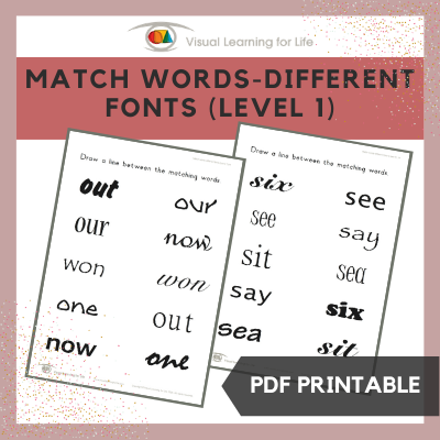 Match Words-Different Fonts (Level 1)