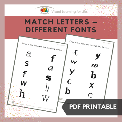 Match Letters – Different Fonts