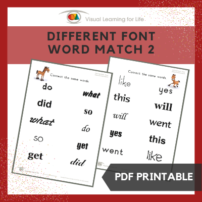Different Font Word Match 2