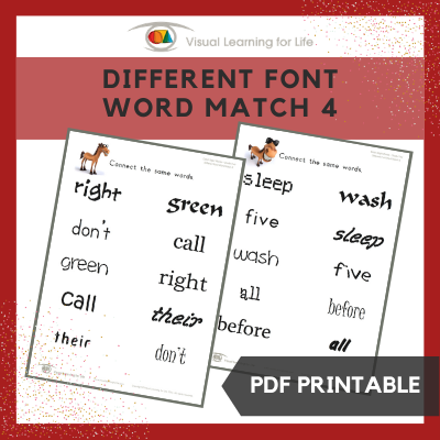 Different Font Word Match 4