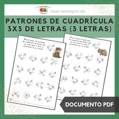 Patrones de Cuadrícula 3x3 de Letras (3 Letras)