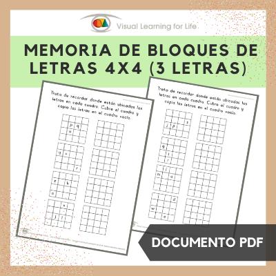 Memoria de Bloques de Letras 4x4 (3 Letras)