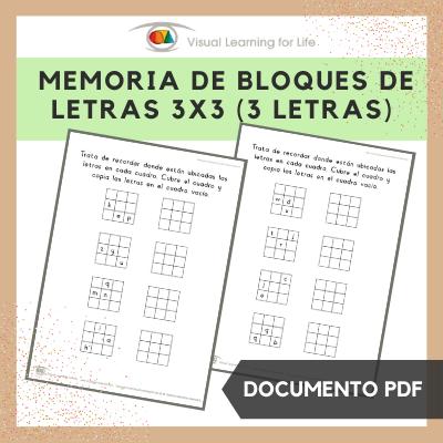 Memoria de Bloques de Letras 3x3 (3 Letras)