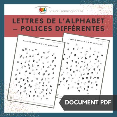 Lettres de l'alphabet – polices différentes
