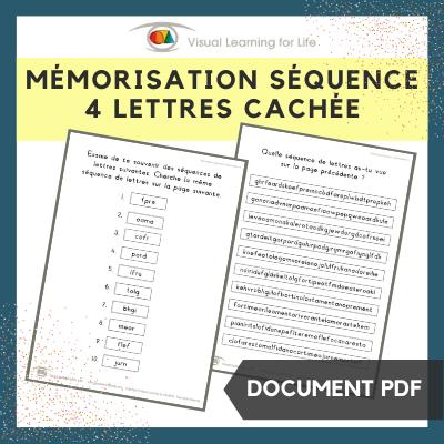Mémorisation séquence 4 lettres cachée