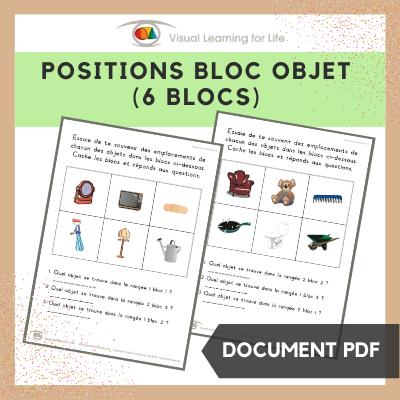 Positions bloc objet (6 blocs)