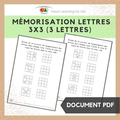 Mémorisation lettres 3x3 (3 lettres)