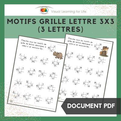 Motifs grille lettre 3x3 (3 lettres)