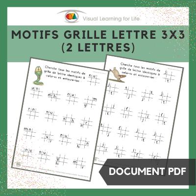 Motifs grille lettre 3x3 (2 lettres)