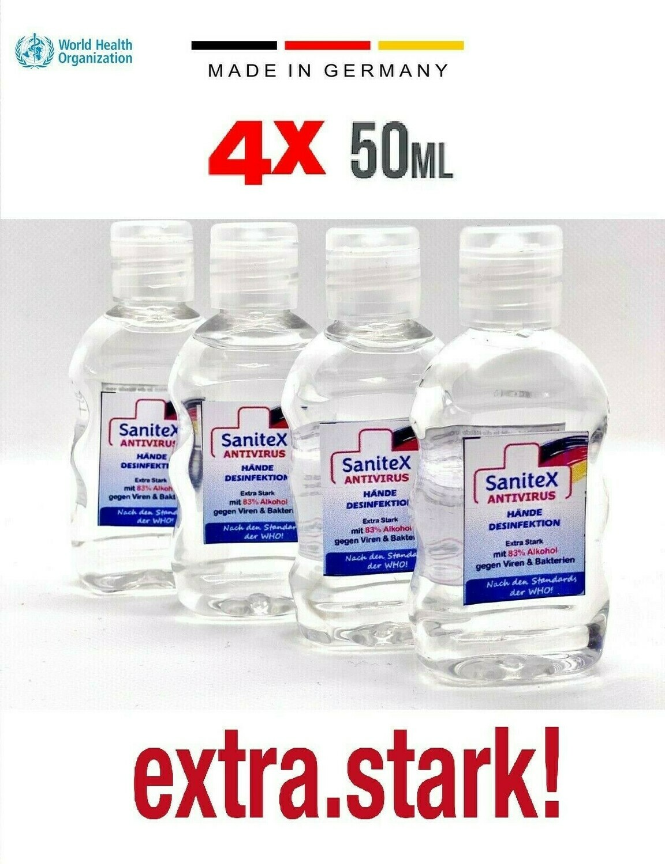4 x 50ml Hände Desinfektionsmittel 83,3% Bio Ethanol/Alkohol