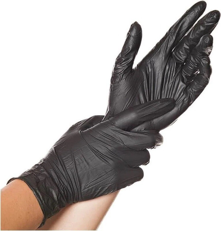 MaiMed Black Nitril Einweghandschuhe puderfrei schwarz S