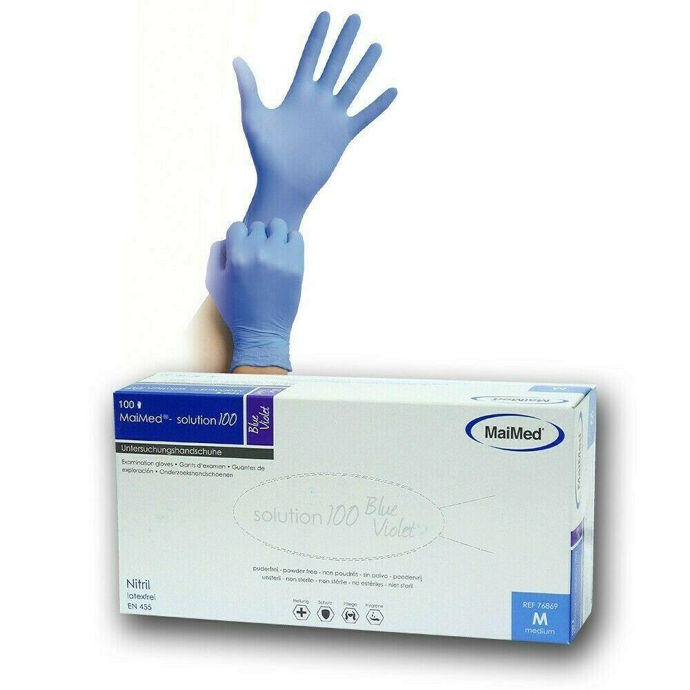 MaiMed Nitril Einweghandschuhe puderfrei Blue Violet