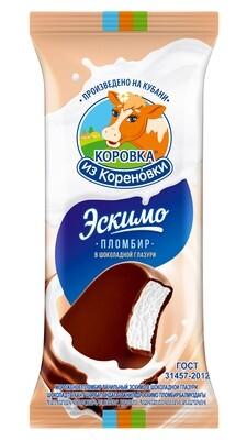 """Мороженное Пломбир Эскимо в шоколадной глазури """"Коровка из Кореновки""""70 гр*20шт"""