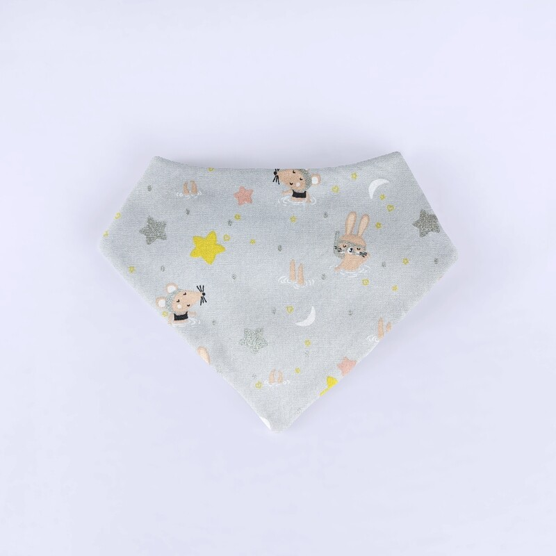 Happy Bunny & Friends Grey Bandana Bib