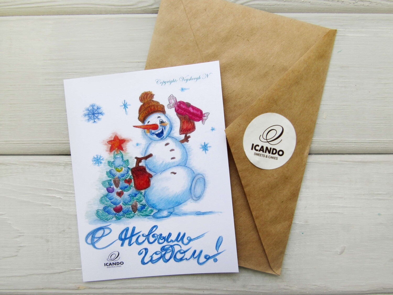 """""""Снеговик"""", новогодняя открытка ручной работы"""