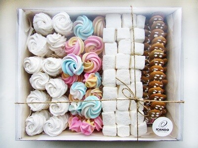 """Зефир, Безе, Маршмеллоу, Пряники"", коробка набор сладостей"