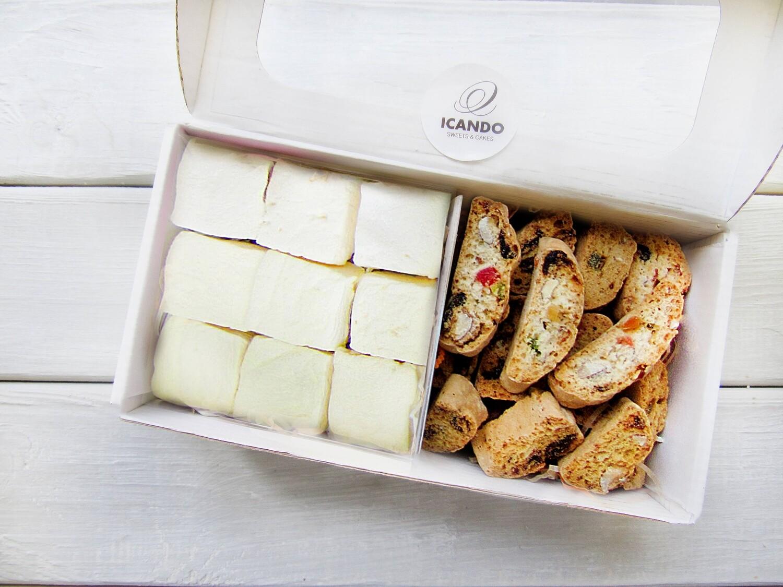 """Маршмеллоу, Кантуччи"", коробка набор сладостей"