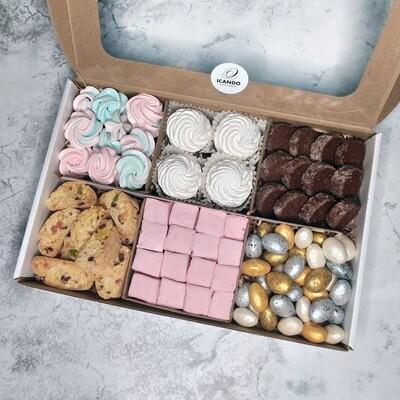 """""""Безе, Кантуччи, Зефир Яблоко, Маршмеллоу Ягода, Печенье Какао, Орех Шоколад"""", коробка набор сладостей"""