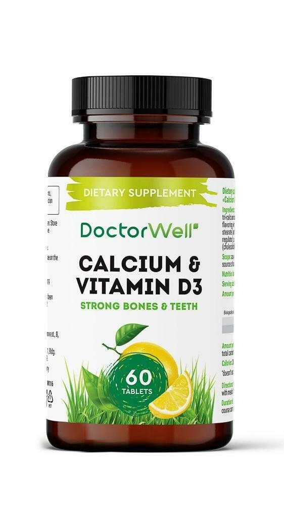 "DoctorWell Calcium + D3 БАД ""Кальций плюс Витамин Д3"" со вкусами каркаде и вишни"