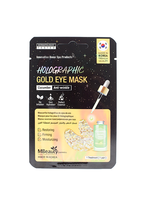MBeauty Holographic Gold Cucumber Eye Zone Mask Голографические золотые патчи с экстрактом огурца