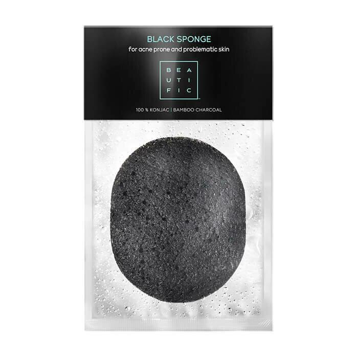Beautific Black Sponge For Acne Prone And Problematic Skin Спонж конняку для лица c бамбуковым углем для проблемной кожи