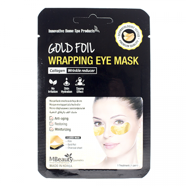 MBeauty Gold Foil Wrapping Eye Mask Антивозрастные золотые фольгированные патчи с коллагеном