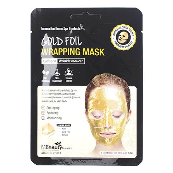 MBeauty Gold Foil Wrapping Mask Антивозрастная золотая фольгированная маска для лица с коллагеном