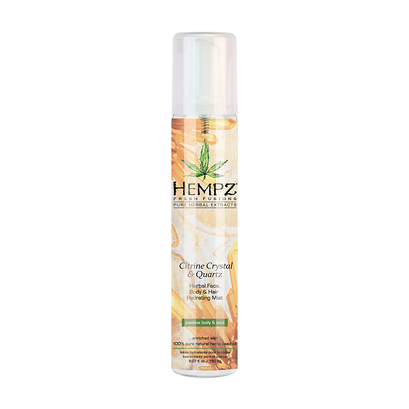 Hempz Citrine Crystal & Quartz Herbal Face, Body & Hair Hydrating Mist Мист увлажняющий для лица, тела и волос с мерцающим эффектом Желтый Кварц