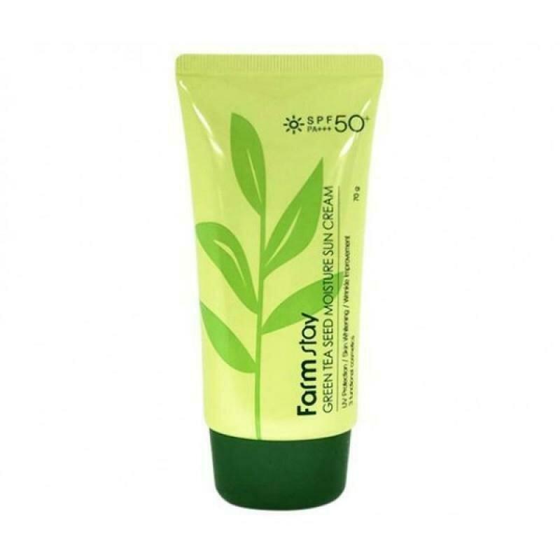 FarmStay Green Tea Seed Moisture Sun Cream SPF 50/PA+++ Солнцезащитный крем с семенами зеленого чая