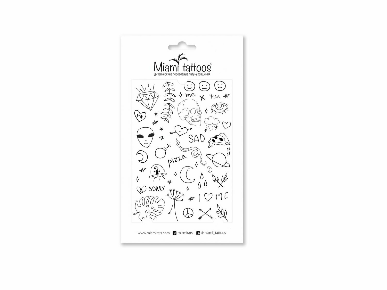 Miami Tattoos  Stick & Poke Набор переводных татуировок