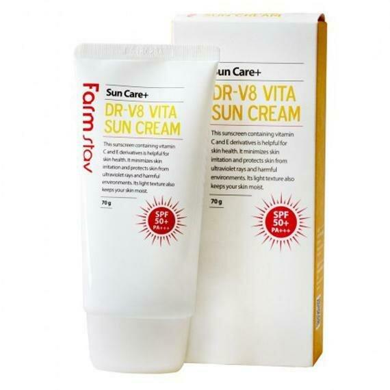 FarmStay DR-V8 Vita Sun Cream SPF 50+/PA+++ Витаминизированный солнцезащитный крем