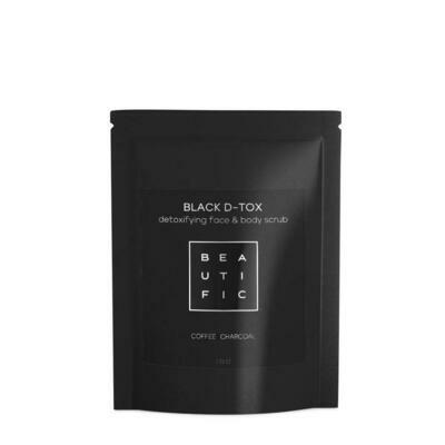Beautific Black D-tox Detoxifying Face&Body Scrub Сухой угольно-кофейный скраб для глубокого очищения лица и тела
