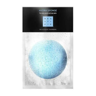 Beautific Hydra Sponge For Dry And Normal Skin Спонж коннякус экстрактом голубики для бережного очищения кожи лица