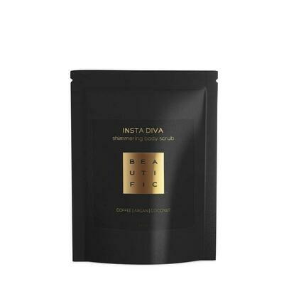 Beautific Insta Diva Shimmering Body Scrub Сияющий кофейный скраб для тела с маслом арганы и манго