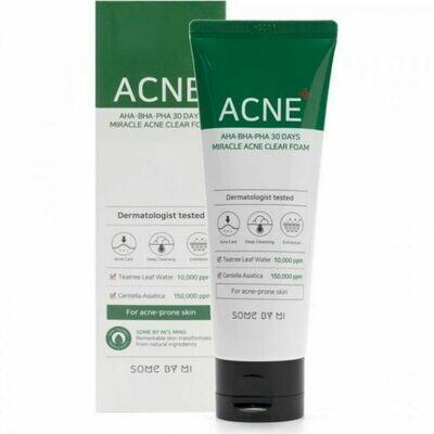 SOME BY MI AHA-BHA-PHA 30 Days Miracle Acne Clear Foam Очищающая пенка для проблемной кожи с кислотами