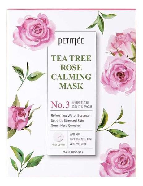 Petitfee Tea Tree Rose Calming Mask Успокаивающая тканевая маска с экстрактом чайного дерева и розы